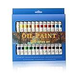 La pintura de aceite Set - 24 colores de pintura 12ml Tubes- artista pinta grado para profesionales,...